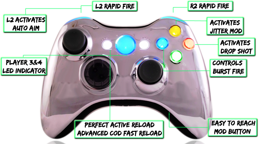 XCM Chrome Blue Modded Controller
