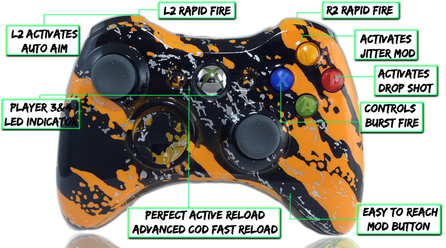 Xbox 360 Savage Orange 10 Mode Modded Controller