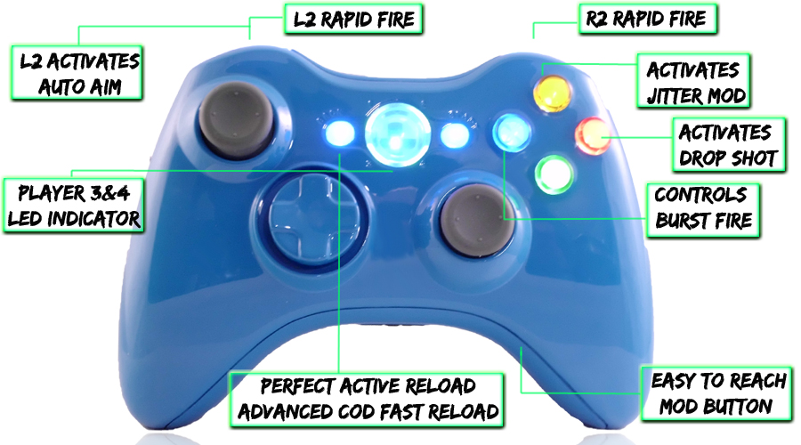 xbox 360 10 mode modded controller Blue Blood