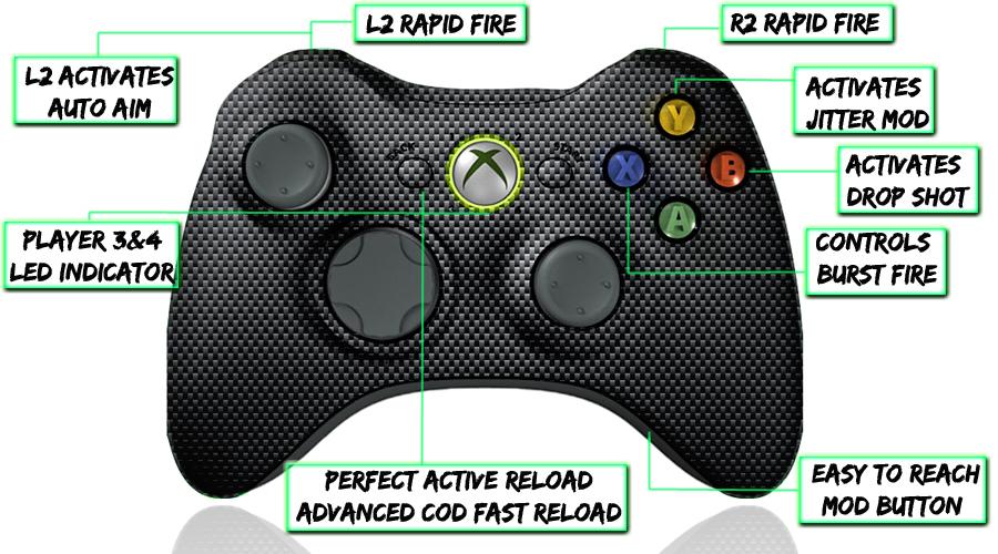 xbox 360 10 mode modded controller Carbon Fiber