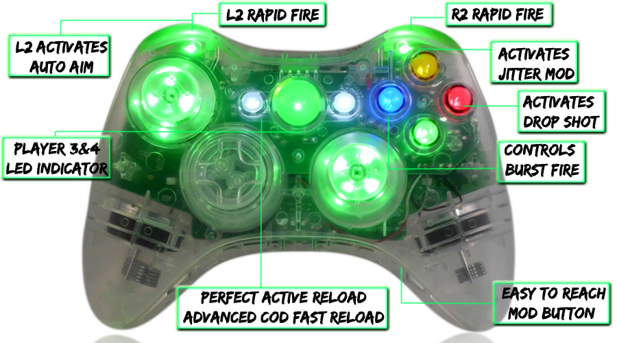 xbox 360 10 mode modded controller Crystal Green With LED Thumbsticks