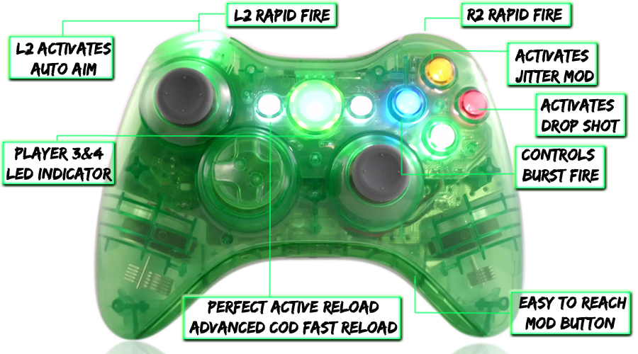 xbox 360 10 mode modded controller Crystal Green