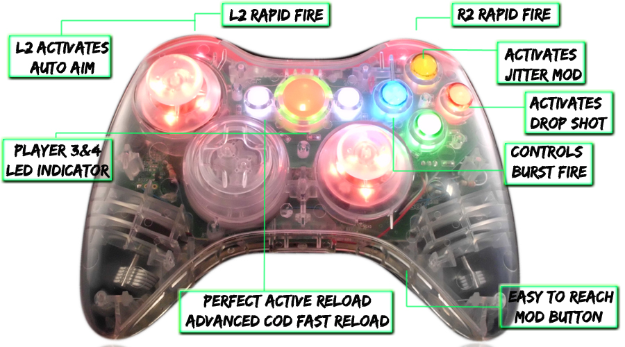 xbox 360 10 mode modded controller Crystal Red