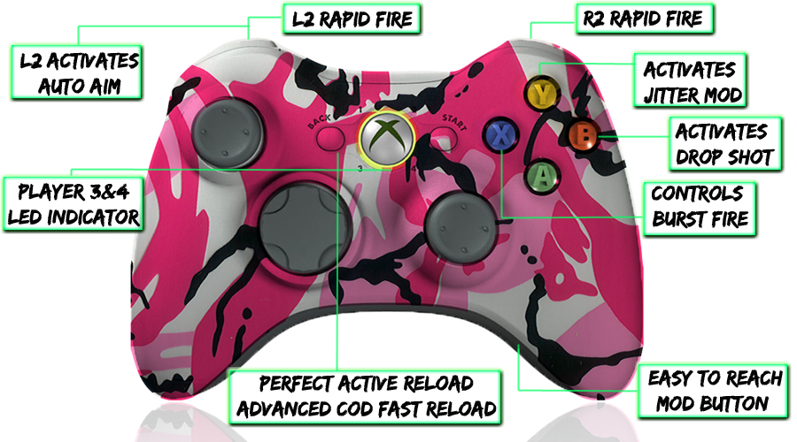 xbox 360 10 mode modded controller Pink Camo