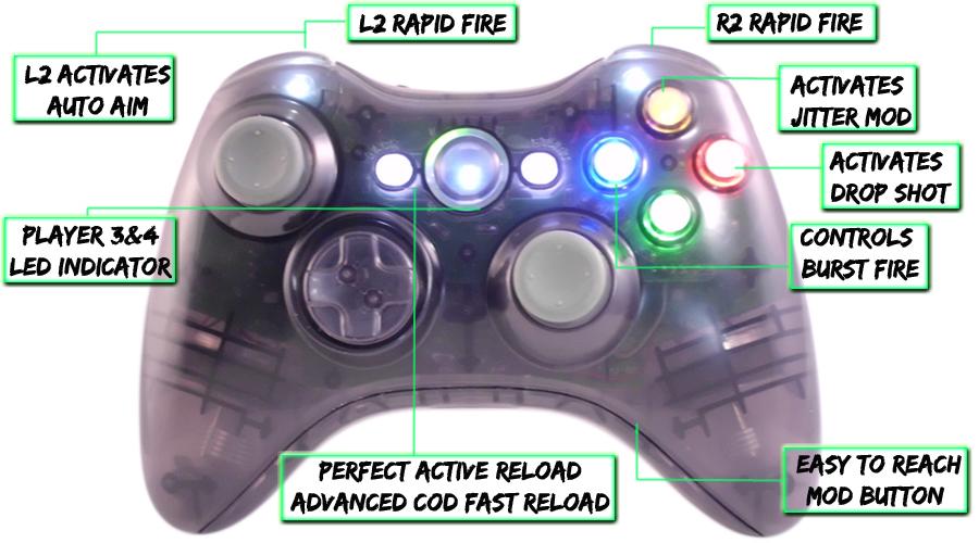 xbox 360 10 mode modded controller Smoke