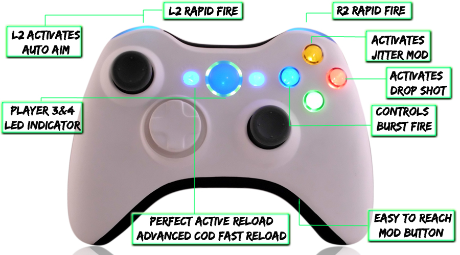 xbox 360 10 mode modded controller White Black