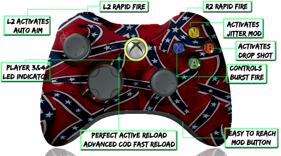 xbox 360 10 mode modded controller Confederate Flag
