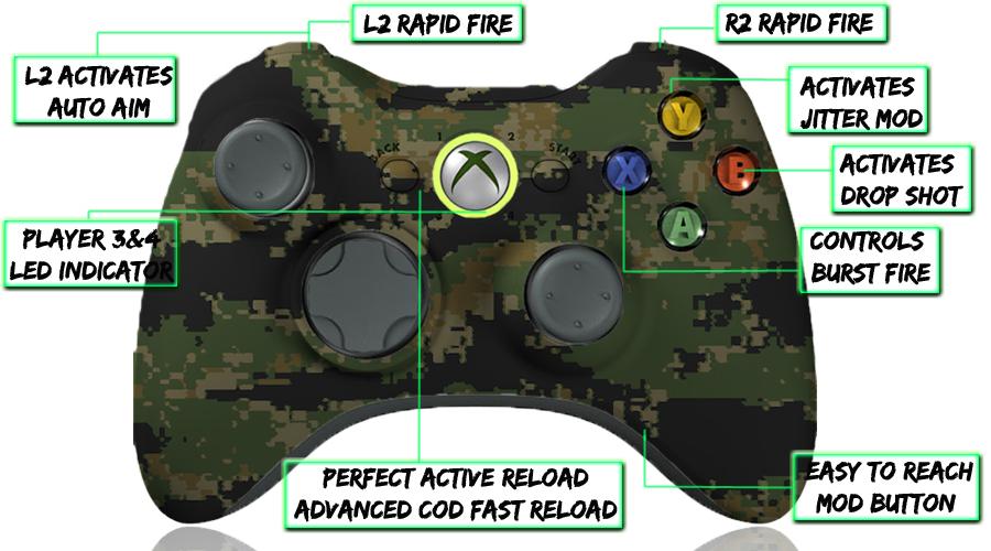 xbox 360 10 mode modded controller Digital Woodland Camo