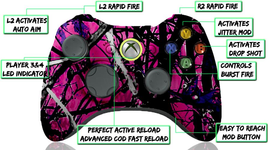 xbox 360 10 mode modded controller Muddy Camo