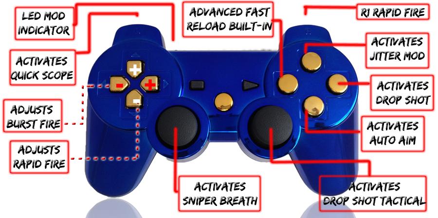 PS3 10 Mode Chrome Blue Gold