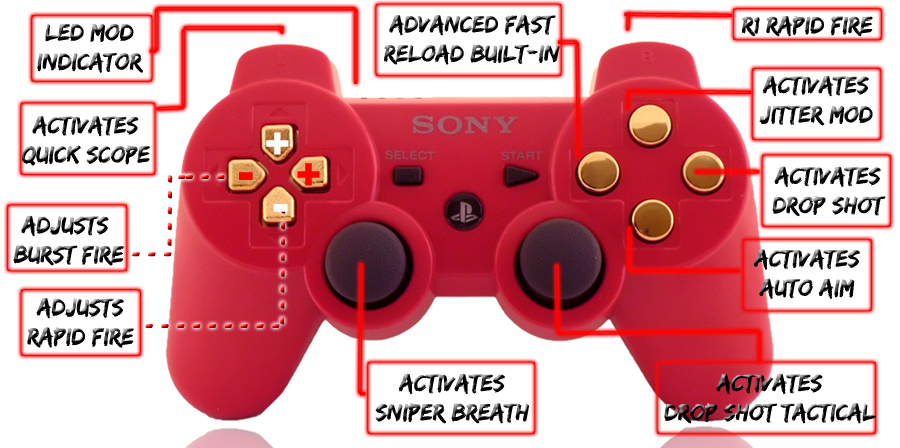 PS3 10 Mode Deep Red Gold