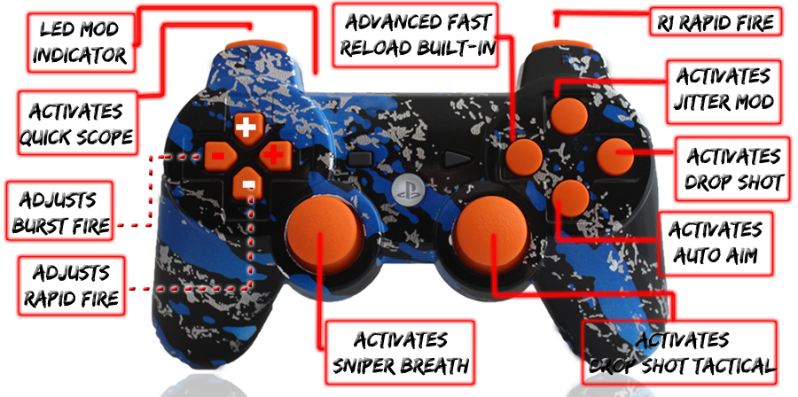 PS3 10 Mode Savage Blue Orange Buttons