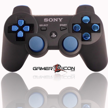 PS3 Charcoal Black Chrome Blue Modded Controller