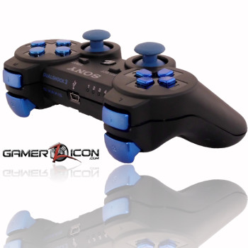 PS3 Charcoal Black Chrome Blue Rapid Fire Controller