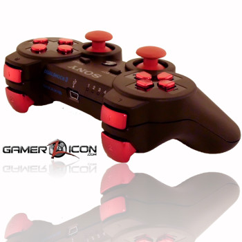 PS3 Charcoal Black Chrome Red Rapid Fire Controller