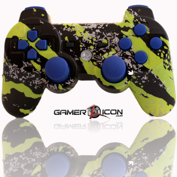 PS3 Modded Controller Savage Green Blue