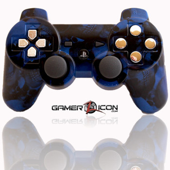 PS3 Modded Controller Skull Blue Chrome