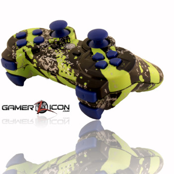 PS3 Savage Green Blue Rapid Fire Controller