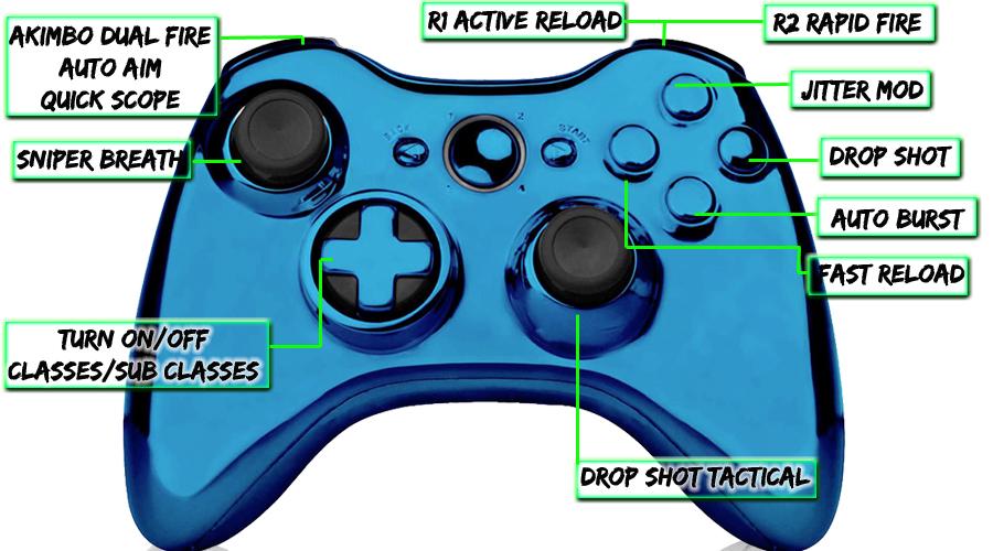 xbox 360 22 mode Raptorfire Chrome Blue modded controller