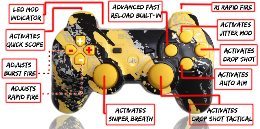 PS3 10 Mode All Savage Yellow Controller
