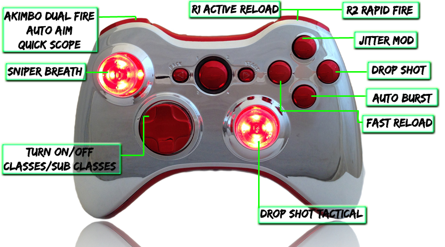 xbox 360 22 mode Raptorfire All Chrome Red modded controller