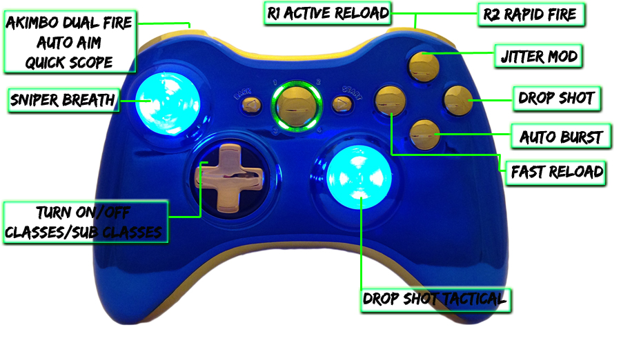 xbox 360 22 mode Raptorfire Chrome Blue Gold modded controller