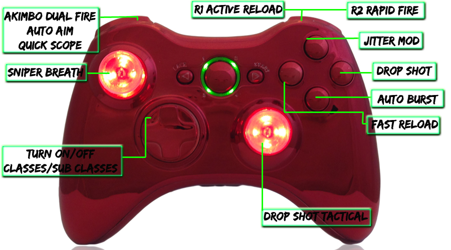 xbox 360 22 mode Raptorfire Red modded controller