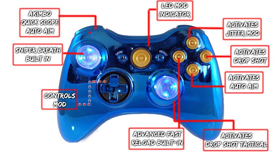 Xbox 360 Chrome Blue Raptorfire Gold Bullet Button Edition