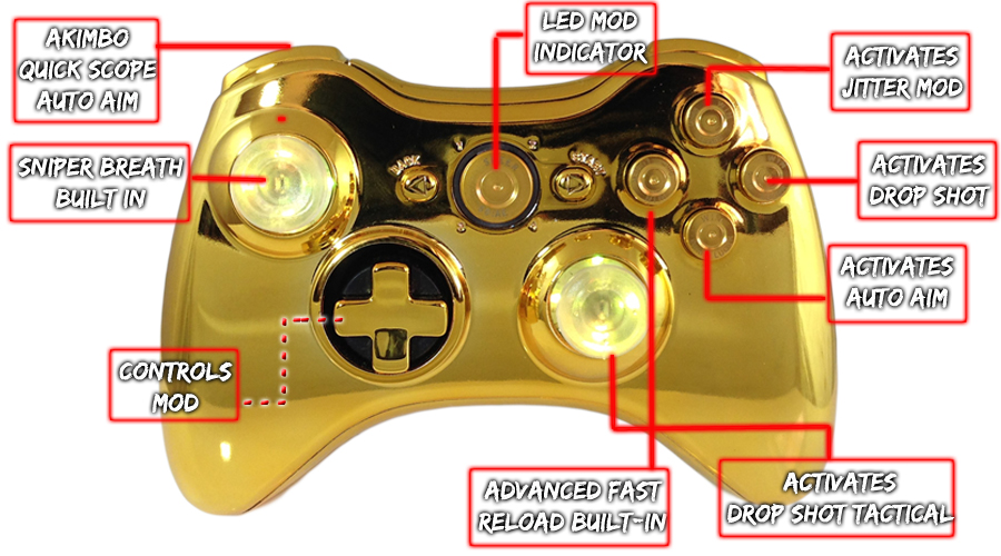 Xbox 360 Chrome Gold Raptorfire Chrome Bullet Button Edition