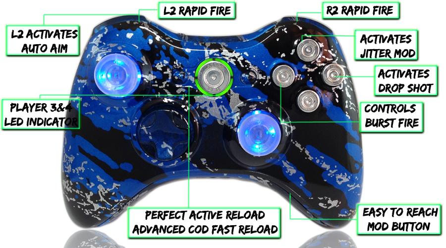 Xbox 360 Savage Blue Raptorfire Chrome Bullet Edition