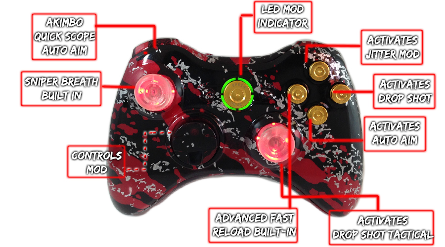 Xbox 360 Savage Red Raptorfire Gold Bullet Button Edition